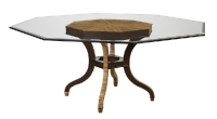 218G/O Octagonal Glass Top Dining Table